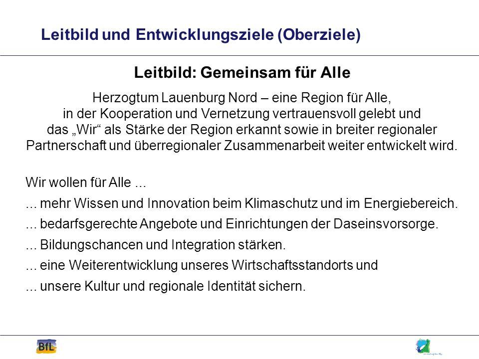 Leitbild und Entwicklungsziele (Oberziele) Leitbild: Gemeinsam für Alle Herzogtum Lauenburg Nord – eine Region für Alle, in der Kooperation und Vernet