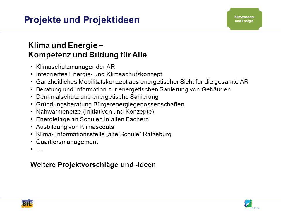 Projekte und Projektideen Klimawandel und Energie Klima und Energie – Kompetenz und Bildung für Alle Klimaschutzmanager der AR Integriertes Energie- u