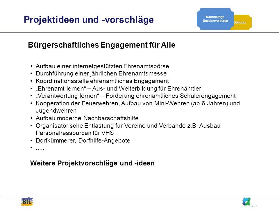 Projektideen und -vorschläge Bildung Nachhaltige Daseinsvorsorge Bürgerschaftliches Engagement für Alle Aufbau einer internetgestützten Ehrenamtsbörse
