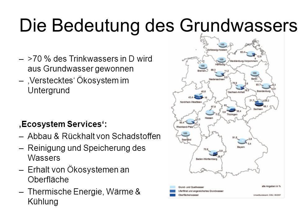 Die Bedeutung des Grundwassers –>70 % des Trinkwassers in D wird aus Grundwasser gewonnen –'Verstecktes' Ökosystem im Untergrund 'Ecosystem Services':