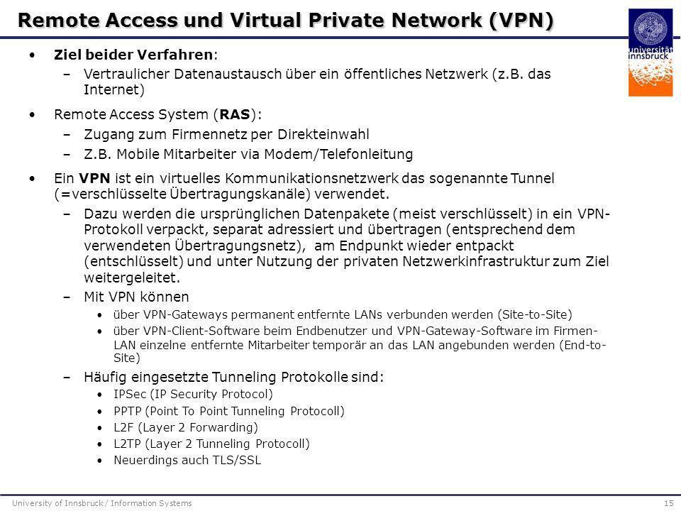 Ziel beider Verfahren: –Vertraulicher Datenaustausch über ein öffentliches Netzwerk (z.B. das Internet)  Remote Access System (RAS): –Zugang zum Firm