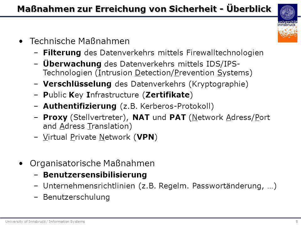 Technische Maßnahmen –Filterung des Datenverkehrs mittels Firewalltechnologien –Überwachung des Datenverkehrs mittels IDS/IPS- Technologien (Intrusion