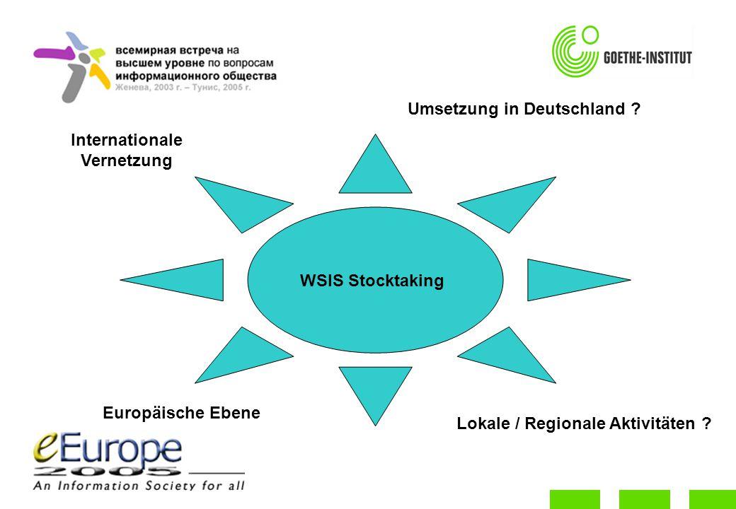 WSIS Stocktaking Umsetzung in Deutschland . Europäische Ebene Lokale / Regionale Aktivitäten .