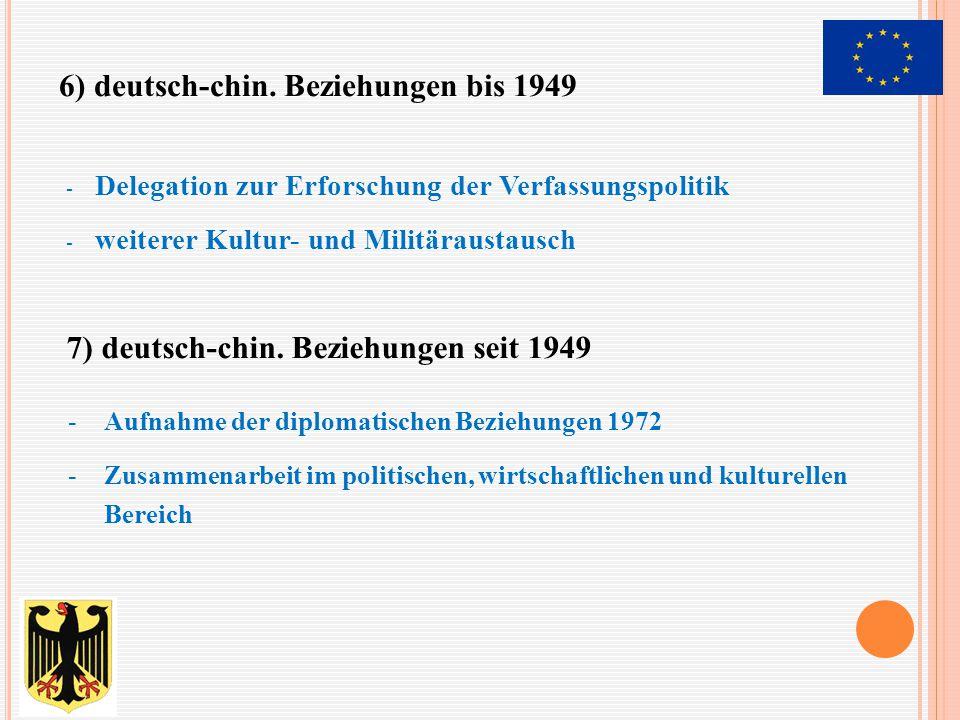 - Delegation zur Erforschung der Verfassungspolitik - weiterer Kultur- und Militäraustausch -Aufnahme der diplomatischen Beziehungen 1972 -Zusammenarb