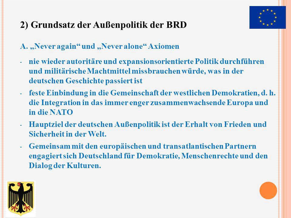 - Fortführung des europäischen Einigungswerks - Weiterentwicklung des Nordatlantikpaktes(NATO), vor allem der transatlanischen Partnerschaft - Stabilisierung und Unterstützung der Reformprozesse in Mittel- und Osteuropa - Mitwirkung in der UNO - Partnerschaft mit den Entwicklungsländern B.