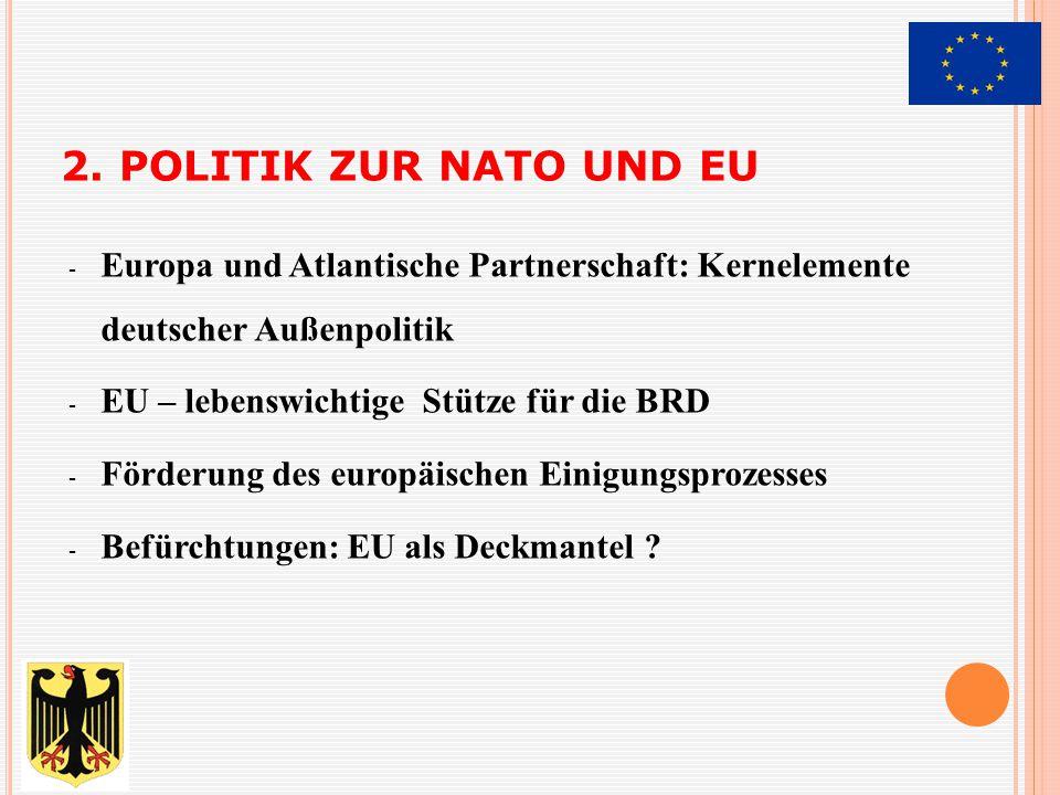 2. POLITIK ZUR NATO UND EU - Europa und Atlantische Partnerschaft: Kernelemente deutscher Außenpolitik - EU – lebenswichtige Stütze für die BRD - Förd