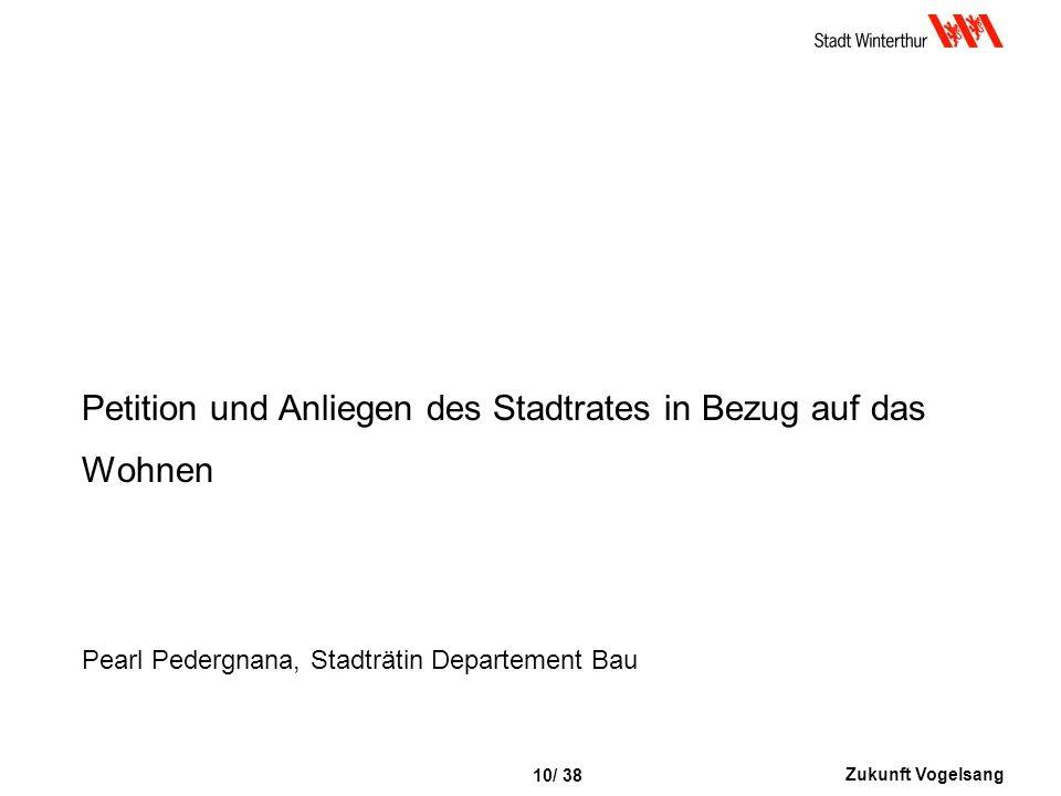 Zukunft Vogelsang 10/ 38 Petition und Anliegen des Stadtrates in Bezug auf das Wohnen Pearl Pedergnana, Stadträtin Departement Bau