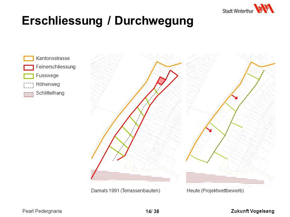 Zukunft Vogelsang 14/ 38 Erschliessung / Durchwegung Heute (Projektwettbewerb)Damals 1991 (Terrassenbauten) Kantonsstrasse Feinerschliessung Fusswege Höhenweg Schlittelhang Pearl Pedergnana