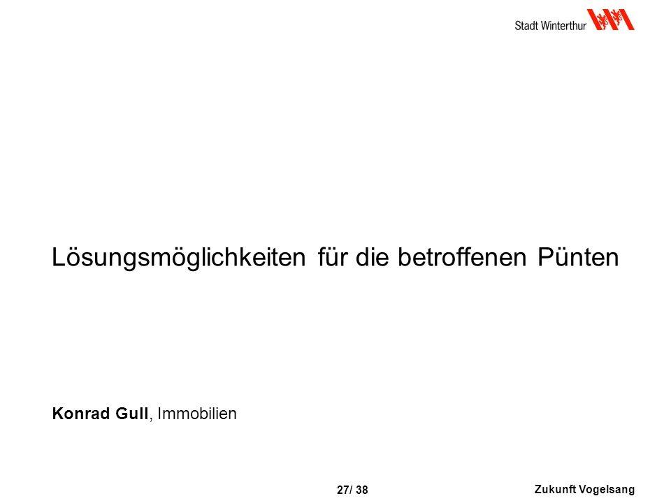 Zukunft Vogelsang 27/ 38 Lösungsmöglichkeiten für die betroffenen Pünten Konrad Gull, Immobilien