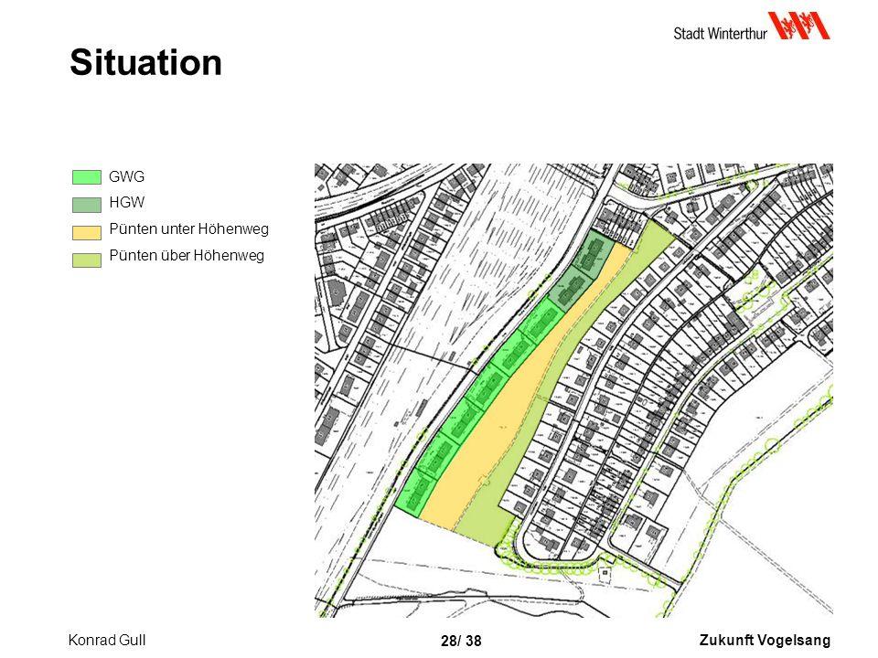 Zukunft Vogelsang 28/ 38 Situation GWG HGW Pünten unter Höhenweg Pünten über Höhenweg Konrad Gull