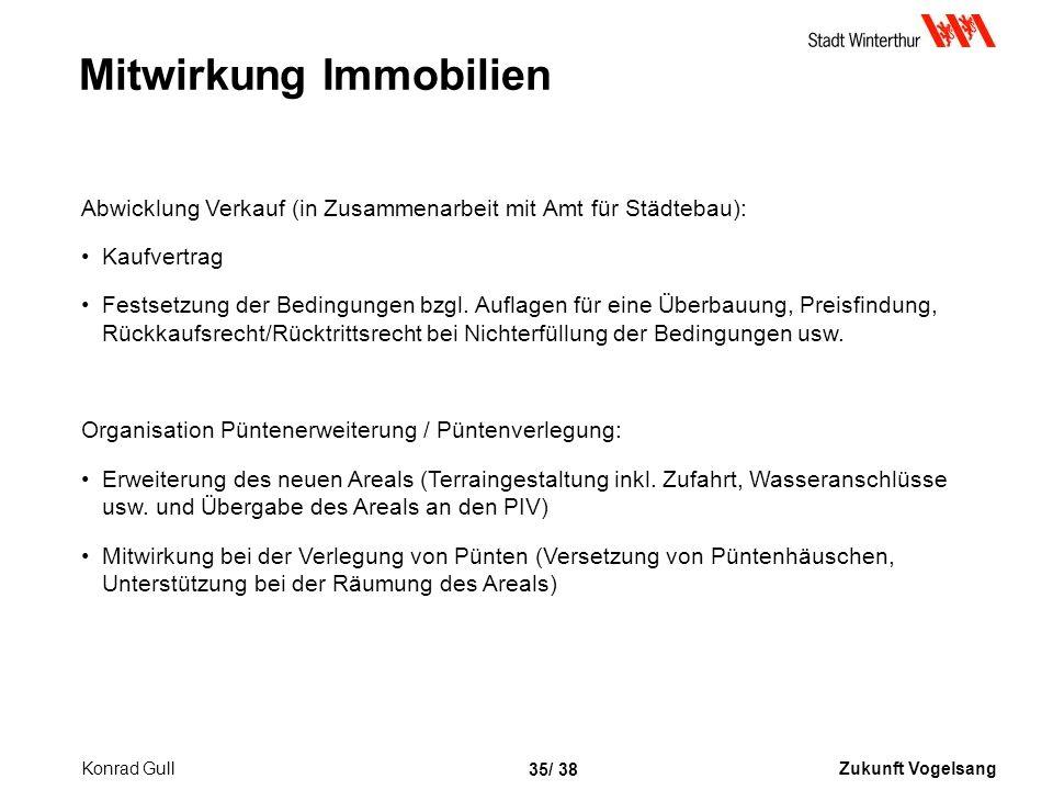 Zukunft Vogelsang 35/ 38 Mitwirkung Immobilien Abwicklung Verkauf (in Zusammenarbeit mit Amt für Städtebau): Kaufvertrag Festsetzung der Bedingungen bzgl.
