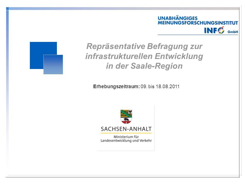 Repräsentative Befragung zur infrastrukturellen Entwicklung in der Saale-Region Erhebungszeitraum: 09.