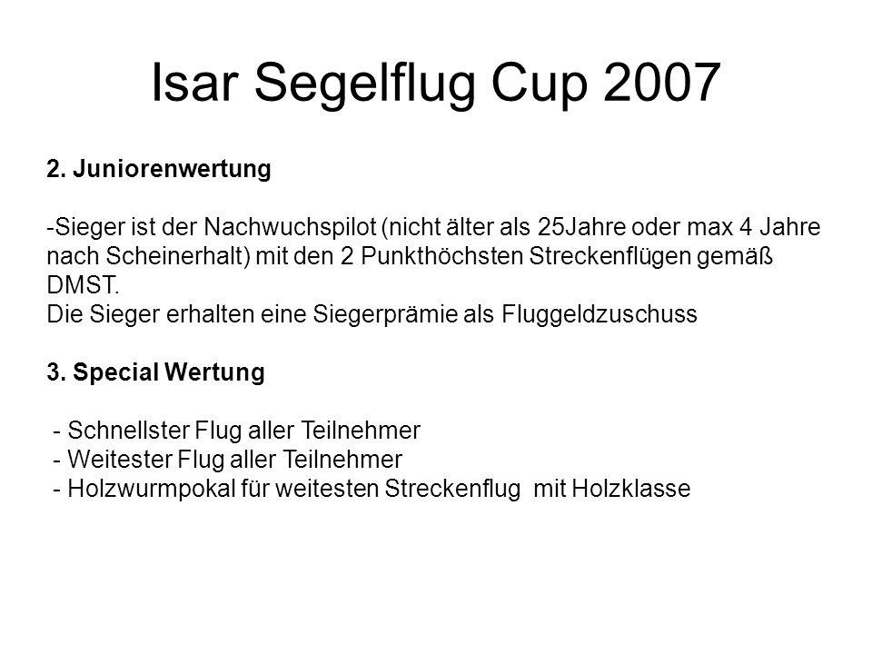Isar Segelflug Cup 2007 2. Juniorenwertung -Sieger ist der Nachwuchspilot (nicht älter als 25Jahre oder max 4 Jahre nach Scheinerhalt) mit den 2 Punkt