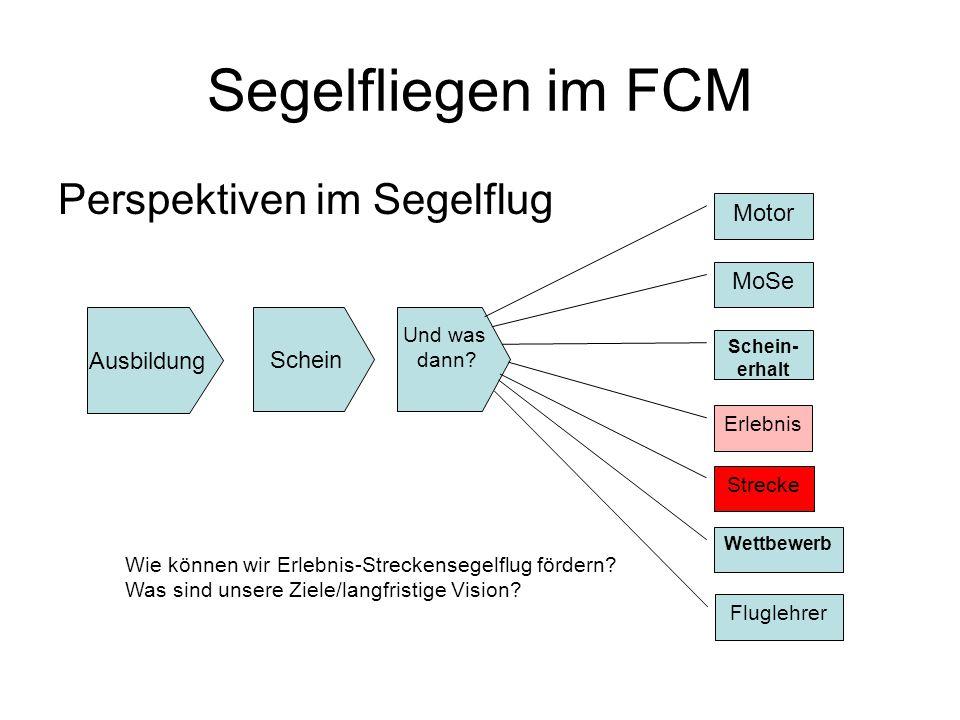 Segelfliegen im FCM Status ++ Ausbildung + Flugzeugpark + Gute Piloten + Jugendarbeit + Streckenflug im Aufwind - Lücke: Schein -Überlandflug -Motivation.
