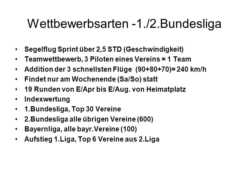Wettbewerbsarten -1./2.Bundesliga Segelflug Sprint über 2,5 STD (Geschwindigkeit) Teamwettbewerb, 3 Piloten eines Vereins = 1 Team Addition der 3 schn