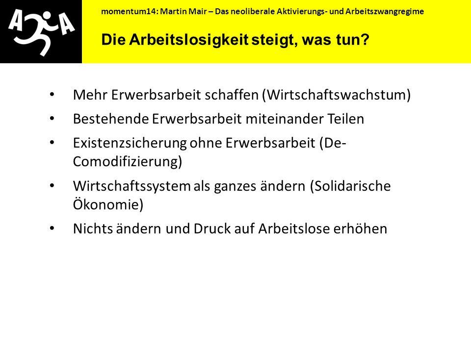 Das neoliberale Aktivierungs- und Arbeitszwangregime Mag. Ing. Martin Mair Momentum14, 17.10.2014
