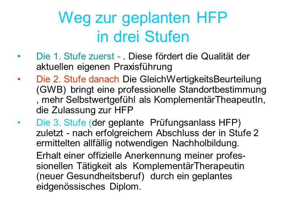 Weg zur geplanten HFP in drei Stufen Die 1. Stufe zuerst -. Diese fördert die Qualität der aktuellen eigenen Praxisführung Die 2. Stufe danach Die Gle