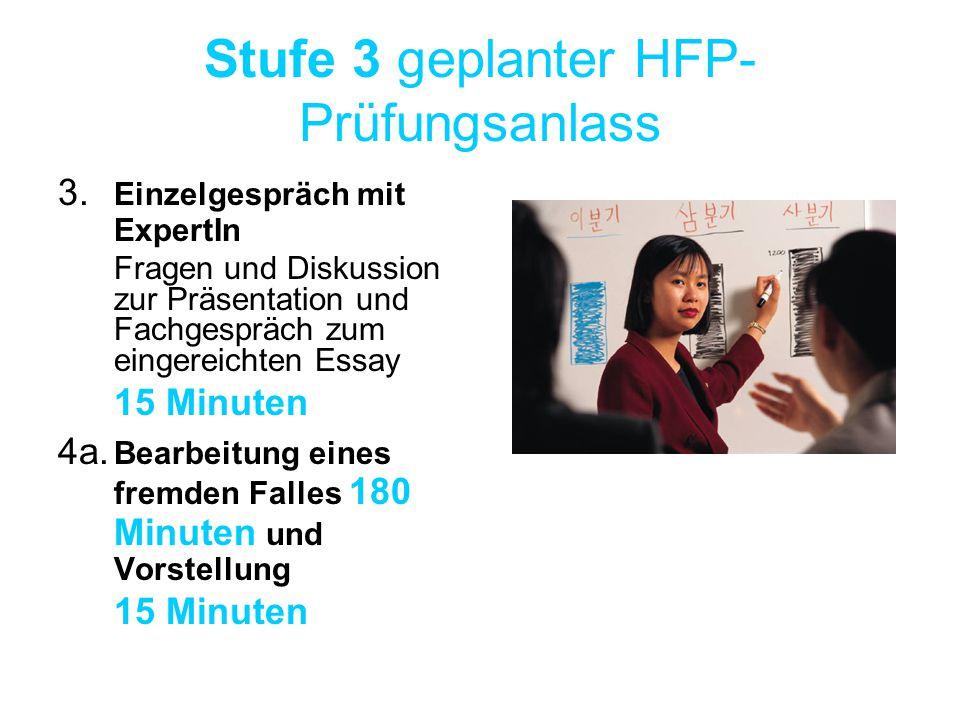 Stufe 3 geplanter HFP- Prüfungsanlass 3. Einzelgespräch mit ExpertIn Fragen und Diskussion zur Präsentation und Fachgespräch zum eingereichten Essay 1