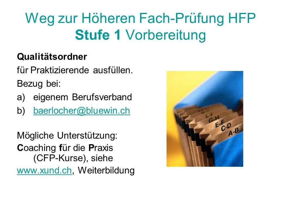 Weg zur Höheren Fach-Prüfung HFP Stufe 1 Vorbereitung Qualitätsordner für Praktizierende ausfüllen. Bezug bei: a)eigenem Berufsverband b)baerlocher@bl