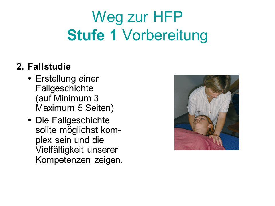 Weg zur HFP Stufe 1 Vorbereitung 2.Fallstudie  Erstellung einer Fallgeschichte (auf Minimum 3 Maximum 5 Seiten)  Die Fallgeschichte sollte möglichst