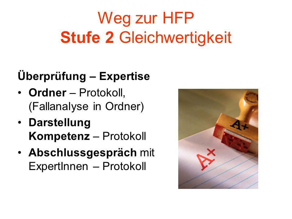 Weg zur HFP Stufe 2 Gleichwertigkeit Überprüfung – Expertise Ordner – Protokoll, (Fallanalyse in Ordner) Darstellung Kompetenz – Protokoll Abschlussge