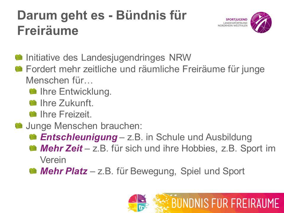 Initiative des Landesjugendringes NRW Fordert mehr zeitliche und räumliche Freiräume für junge Menschen für… Ihre Entwicklung.