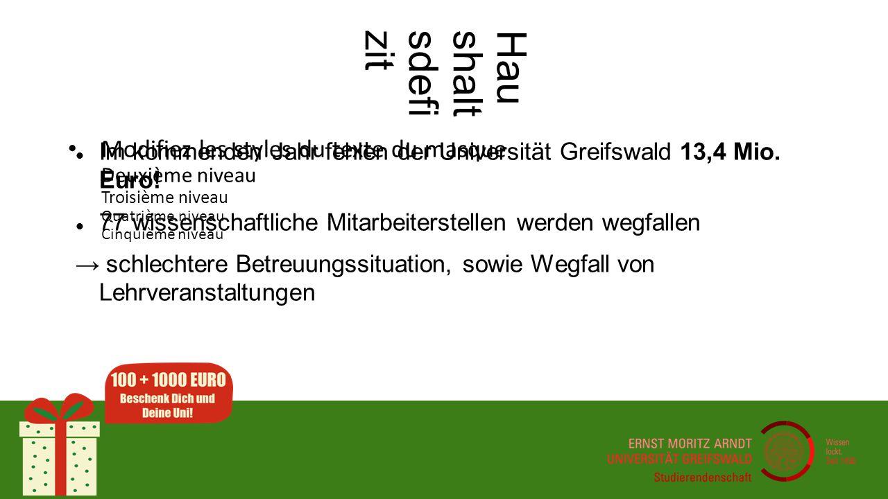 Modifiez les styles du texte du masque Deuxième niveau Troisième niveau Quatrième niveau Cinquième niveau Haushaltsdefizit Im kommenden Jahr fehlen der Universität Greifswald 13,4 Mio.