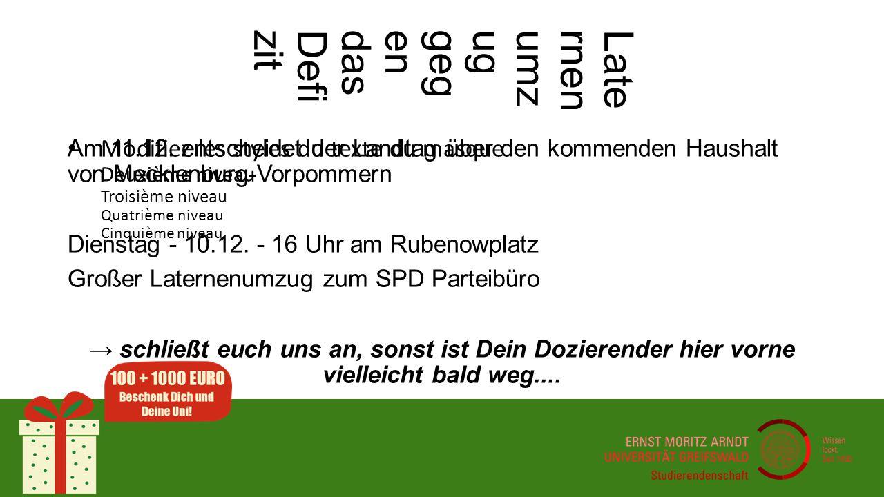 Modifiez les styles du texte du masque Deuxième niveau Troisième niveau Quatrième niveau Cinquième niveau Haushaltsdefizit Was Du auch noch für mehr Geld machen kannst......Greifswalder werden!