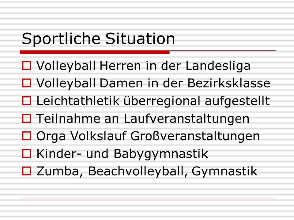 Sportliche Situation  Volleyball Herren in der Landesliga  Volleyball Damen in der Bezirksklasse  Leichtathletik überregional aufgestellt  Teilnahme an Laufveranstaltungen  Orga Volkslauf Großveranstaltungen  Kinder- und Babygymnastik  Zumba, Beachvolleyball, Gymnastik