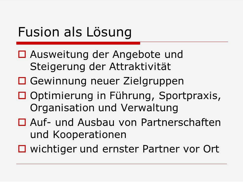 Ablaufplanung der Fusion  Vorstand beider Vereine einig  Mitgliederversammlungen haben weiteren Schritten zugestimmt  Rechtsberatungsgespräche laufen  Aufgabenverteilung und Ziele in AGs  Satzungsänderung und Vertrag im Herbst  Zustimmung der Mitglieder 2014/2015  Fusionsziel 1.