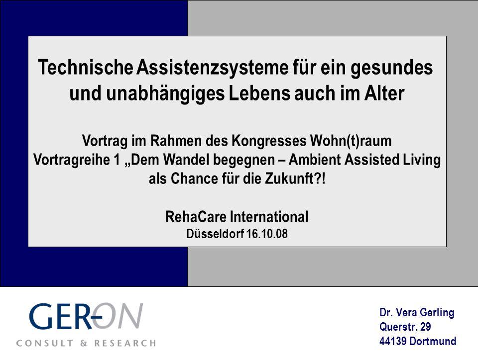 RehaCare, Düsseldorf 16.10.08 Einführung und Überblick 1.Einführung und Überblick 2.Nationale und internationale (Praxis)Beispiele in den Bereichen 1.