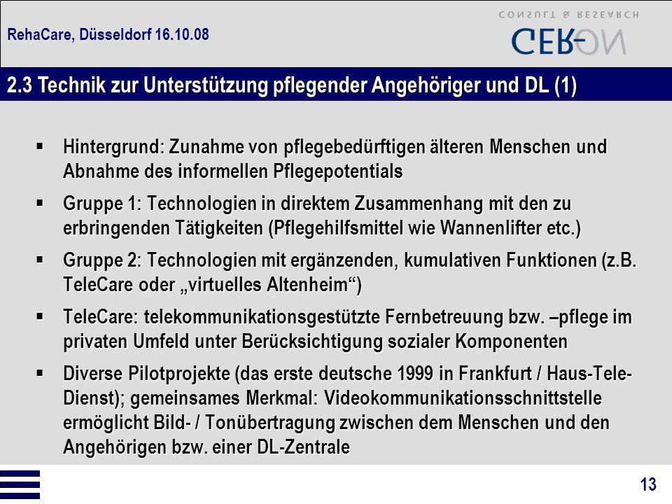 RehaCare, Düsseldorf 16.10.08  Hintergrund: Zunahme von pflegebedürftigen älteren Menschen und Abnahme des informellen Pflegepotentials  Gruppe 1: T