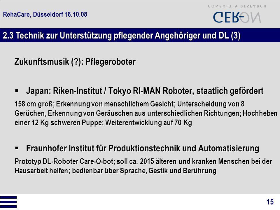 RehaCare, Düsseldorf 16.10.08 Zukunftsmusik (?): Pflegeroboter  Japan: Riken-Institut / Tokyo RI-MAN Roboter, staatlich gefördert 158 cm groß; Erkenn