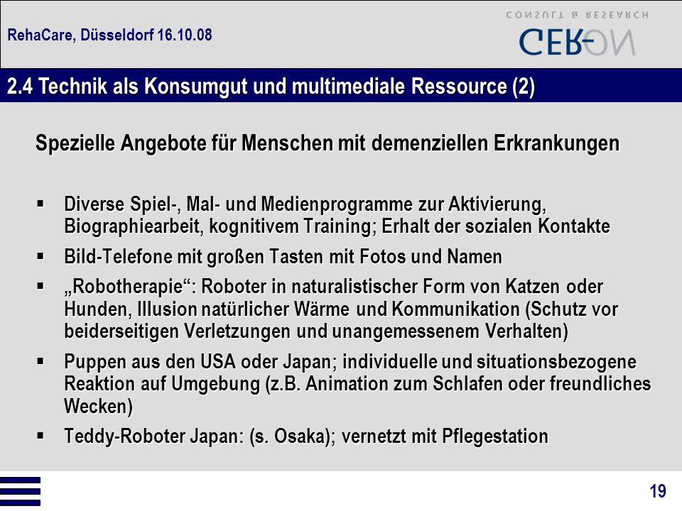 RehaCare, Düsseldorf 16.10.08 Spezielle Angebote für Menschen mit demenziellen Erkrankungen  Diverse Spiel-, Mal- und Medienprogramme zur Aktivierung