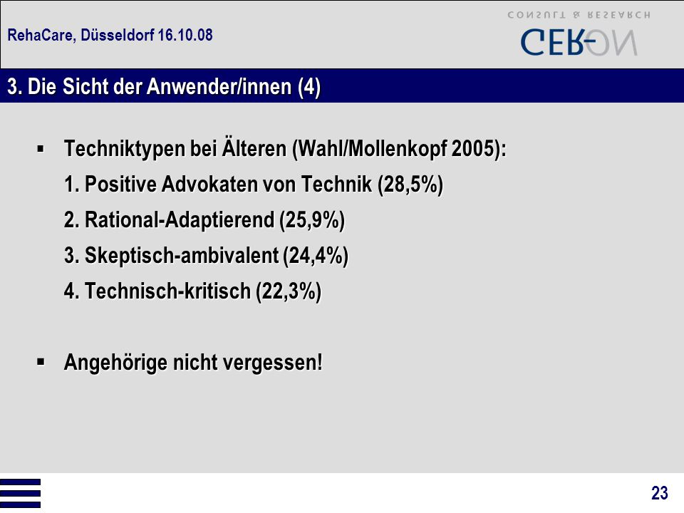 RehaCare, Düsseldorf 16.10.08  Techniktypen bei Älteren (Wahl/Mollenkopf 2005): 1. Positive Advokaten von Technik (28,5%) 2. Rational-Adaptierend (25