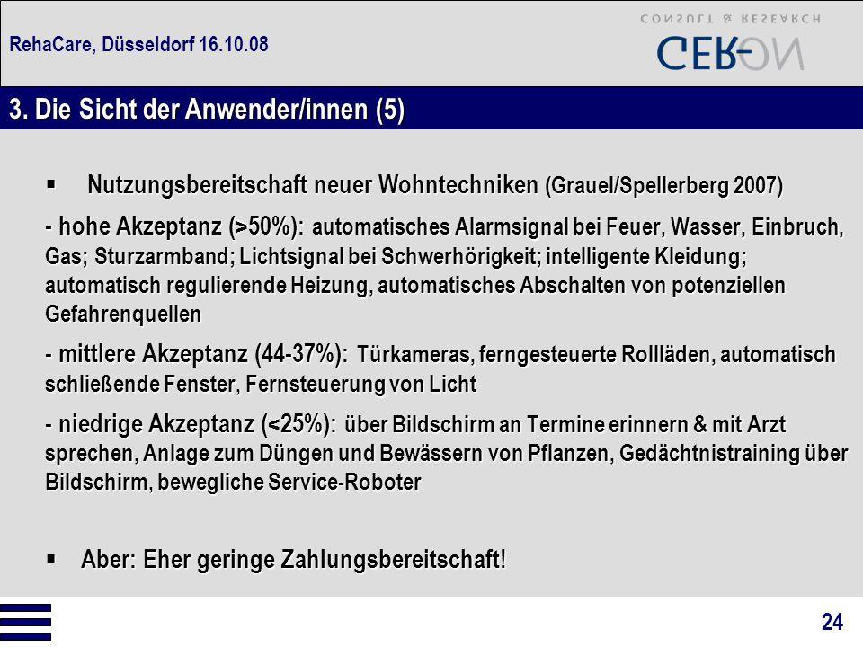 RehaCare, Düsseldorf 16.10.08  Nutzungsbereitschaft neuer Wohntechniken (Grauel/Spellerberg 2007) - hohe Akzeptanz (>50%): automatisches Alarmsignal