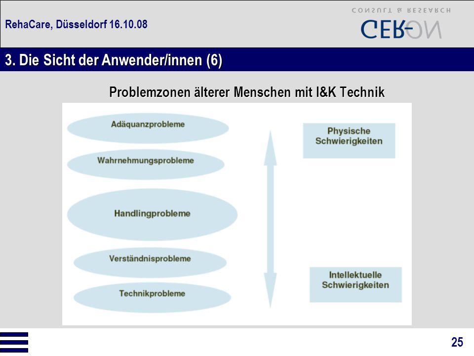 RehaCare, Düsseldorf 16.10.08 Problemzonen älterer Menschen mit I&K Technik 3. Die Sicht der Anwender/innen (6) 25