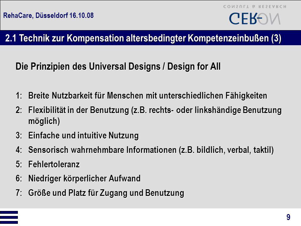 RehaCare, Düsseldorf 16.10.08 Die Prinzipien des Universal Designs / Design for All 1:Breite Nutzbarkeit für Menschen mit unterschiedlichen Fähigkeite