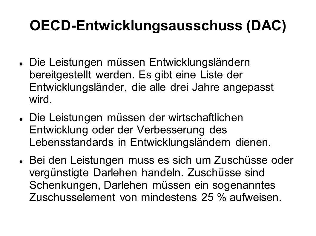 OECD-Entwicklungsausschuss (DAC) Die Leistungen müssen Entwicklungsländern bereitgestellt werden. Es gibt eine Liste der Entwicklungsländer, die alle