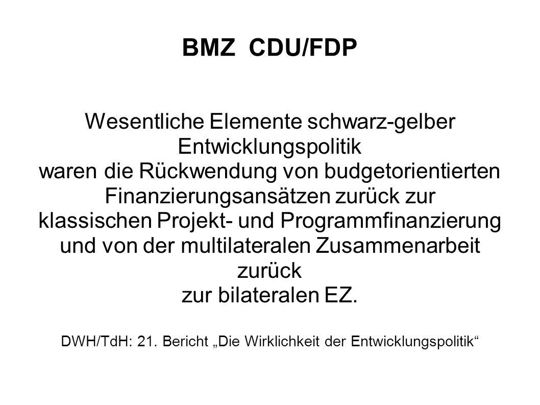 BMZ CDU/FDP Wesentliche Elemente schwarz-gelber Entwicklungspolitik waren die Rückwendung von budgetorientierten Finanzierungsansätzen zurück zur klas