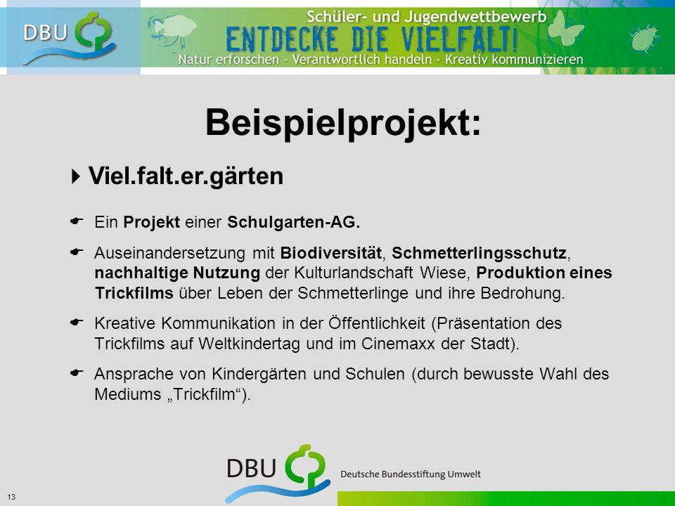 13 Beispielprojekt:  Viel.falt.er.gärten  Ein Projekt einer Schulgarten-AG.