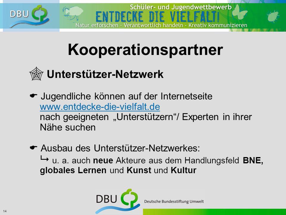 """14 Kooperationspartner  Unterstützer-Netzwerk  Jugendliche können auf der Internetseite www.entdecke-die-vielfalt.de nach geeigneten """"Unterstützern / Experten in ihrer Nähe suchen  Ausbau des Unterstützer-Netzwerkes:  u."""