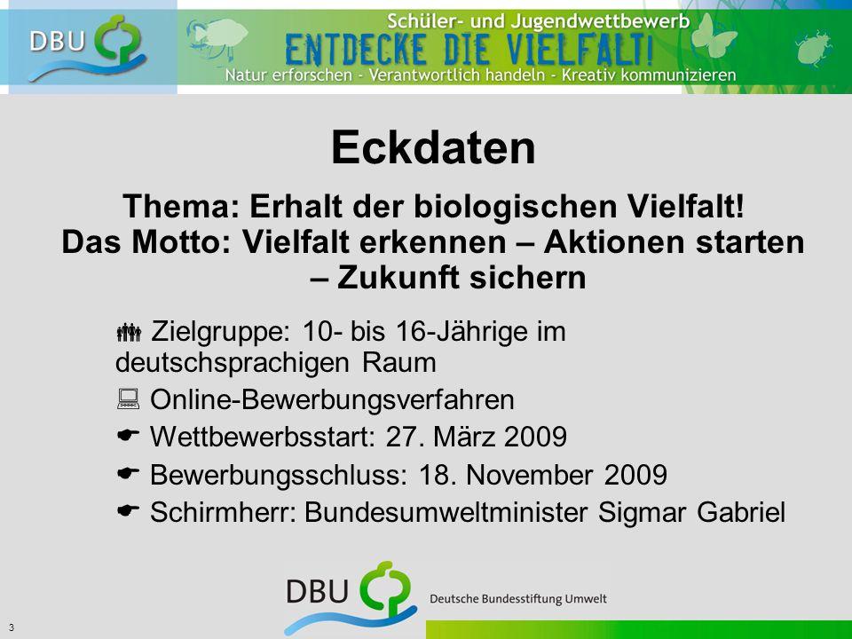 3 Eckdaten Thema: Erhalt der biologischen Vielfalt.