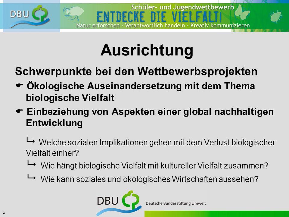 4 Ausrichtung Schwerpunkte bei den Wettbewerbsprojekten  Ökologische Auseinandersetzung mit dem Thema biologische Vielfalt  Einbeziehung von Aspekten einer global nachhaltigen Entwicklung  Welche sozialen Implikationen gehen mit dem Verlust biologischer Vielfalt einher.
