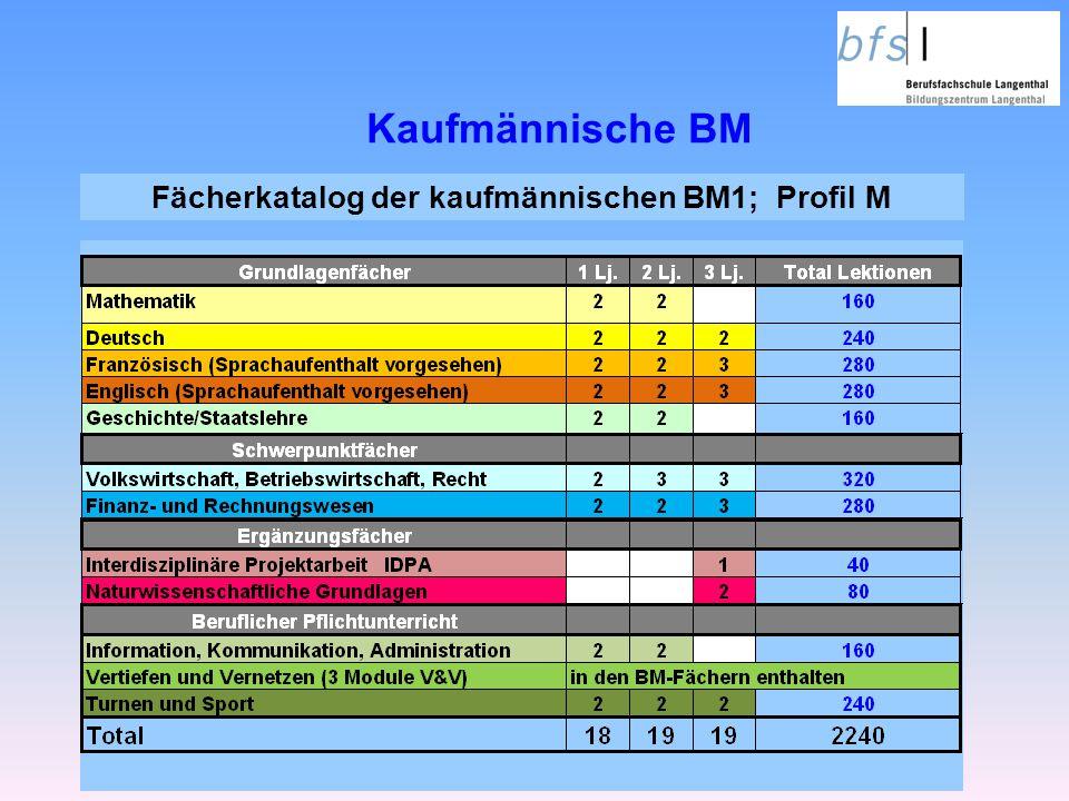 Kaufmännische BM Fächerkatalog der kaufmännischen BM1; Profil M
