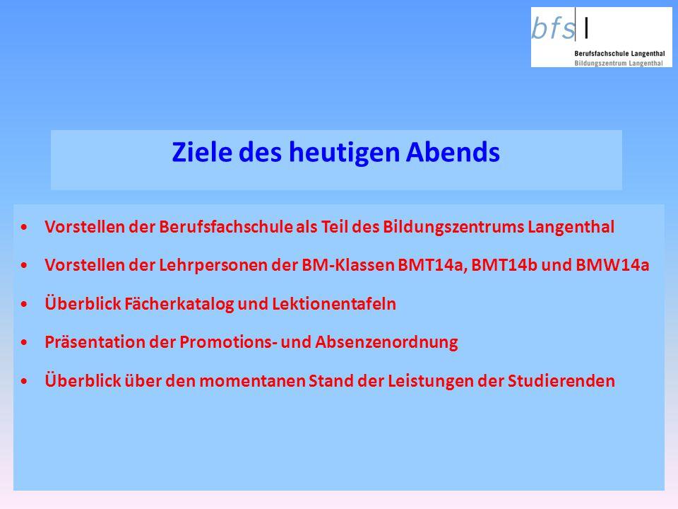 Ziele des heutigen Abends Vorstellen der Berufsfachschule als Teil des Bildungszentrums Langenthal Vorstellen der Lehrpersonen der BM-Klassen BMT14a,