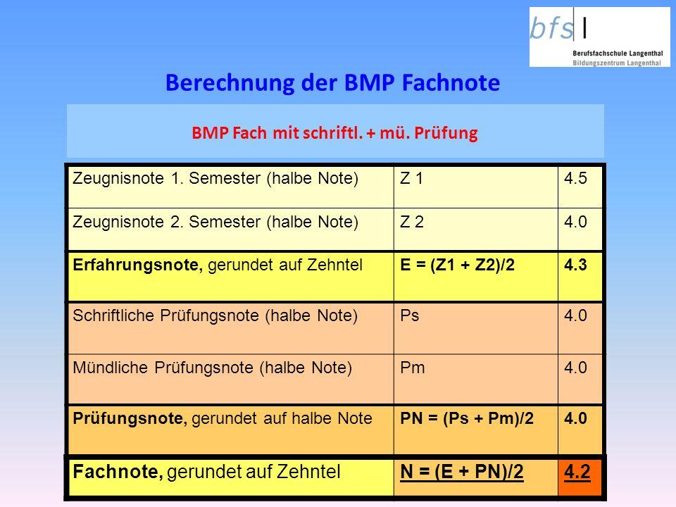 BMP Fach mit schriftl. + mü. Prüfung Zeugnisnote 1. Semester (halbe Note)Z 14.5 Zeugnisnote 2. Semester (halbe Note)Z 24.0 Erfahrungsnote, gerundet au