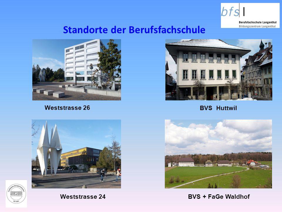 Standorte der Berufsfachschule BVS + FaGe Waldhof BVS Huttwil Weststrasse 26 Weststrasse 24