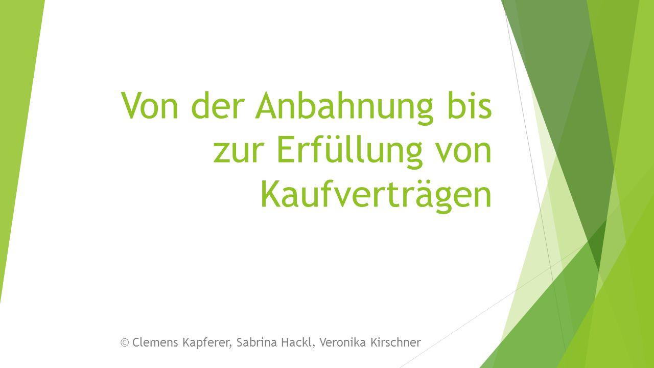 Von der Anbahnung bis zur Erfüllung von Kaufverträgen © Clemens Kapferer, Sabrina Hackl, Veronika Kirschner