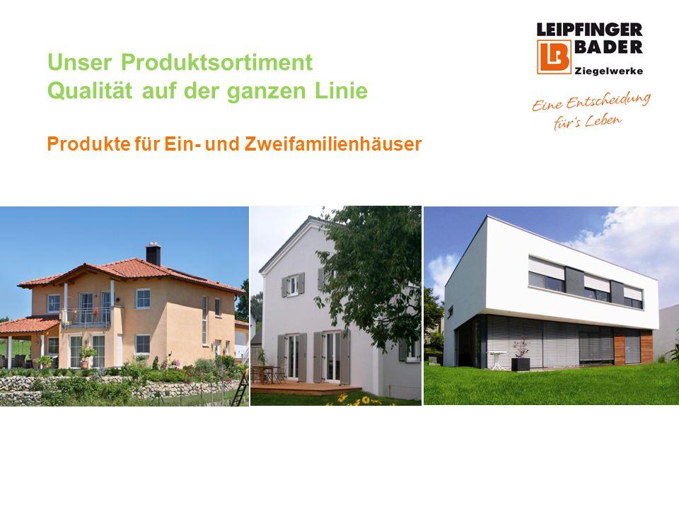 Unser Produktsortiment Qualität auf der ganzen Linie W- Produkte für Ein- und Zweifamilienhäuser Ziegellösungen für alle Anforderungen des modernen, nachhaltigen Bauens